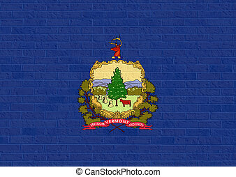 Vermont state flag on brick wall