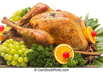 Garnished roasted turkey - Roast turkey for Christmas...