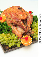 Garnished roasted turkey - Roast turkey for Christmas...