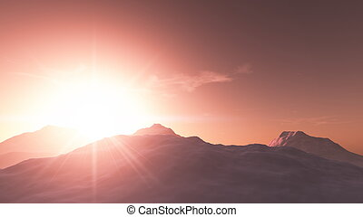 sun rise from top of the mountain