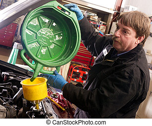 Automotive Technician Auto Mechanic Refills Radiator - Ed...