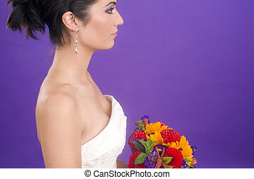Gorgoues Female Bride Profile Portrait Floral Bouquet Purple