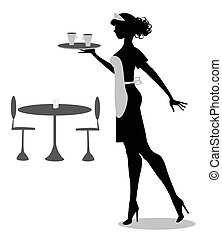 vector waitress silhouette - silhouette of waitress with...