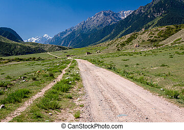 Country road in Tien Shan mountains, Kirghizia