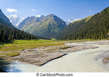 River and high mountain. Tien Shan, Kirghizia