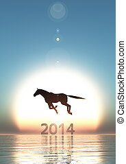 sun rise and horse