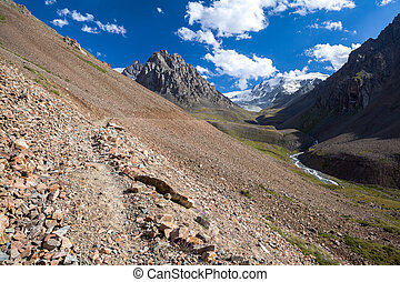 Path in amazing Tien Shan mountains, Kirgizstan