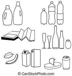Collection of trash icon vector illustration