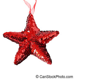 Red shiny Christmas star on white - Red shiny Christmas star...