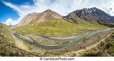 Panorama of twisting river Jil-Suu in Kirgizia, Tien Shan...