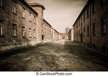 Barracks in former Nazi concentration camp Auschwitz I,...