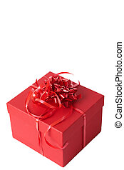 Red gift box with ribbon bows - Red gift box with bows...