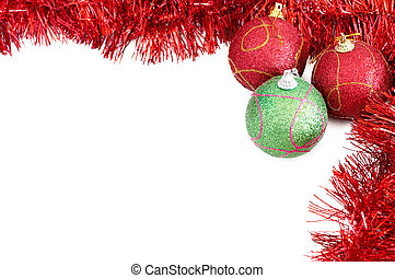 Three Christmas baubles with red tinsel - Three red and...