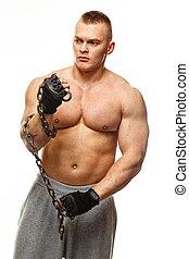 muscular, hombre, joven, cadena, guapo