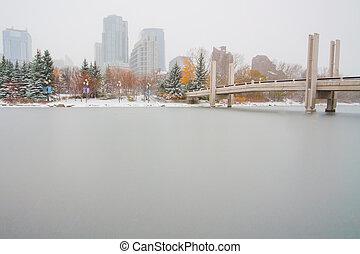 Downtown Calgary Skating Rink - Desolate skating rink in...