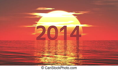 2014 and sunrise  - image of new year