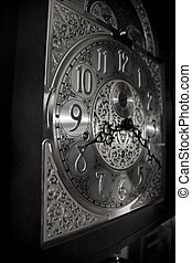 clock face black and white - the clock face of a grandfather...
