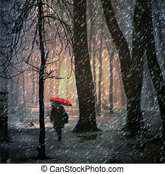 Woman with umbrella - Christmas is a holiday of all...