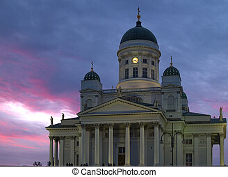 Night in Helsinki - Helsinki cathedral front view during the...