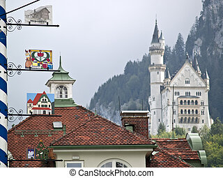 The Castle - Neuschwanstein castle during summer view from...