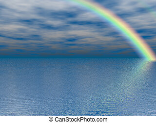Ocean Rainbow - Pretty rainbow over the ocean