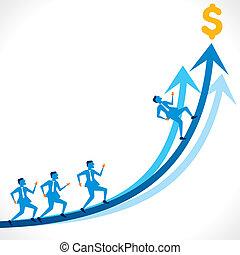 business growth concept - businessmen run over growth arrow...