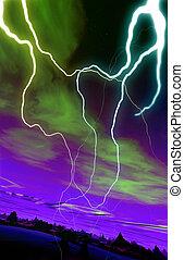 Alien World - A conceptual image of a sky round, alien world...