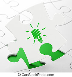 Business concept: Energy Saving Lamp on puzzle background -...