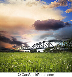 Old iron truss bridge across the Gaoping River in Taiwan