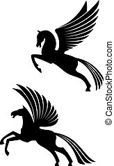 Pegasus winged horses isolated on white background for...