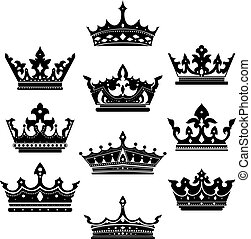 Black crowns set for heraldry design isolated on white...