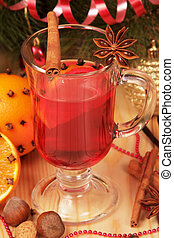 Close up glass of mulled wine on wooden table