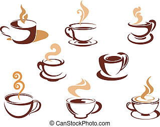 Cups with fragrant coffee for cafe or restaurant design