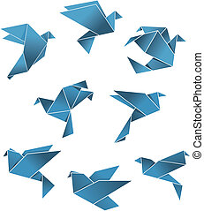Blue paper pigeons and doves in origami style