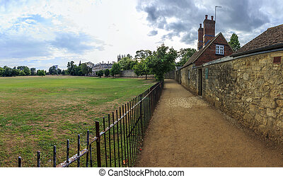 Panoramic, hdr photo of Rose lane In Oxford, England with...