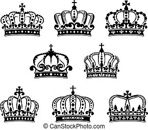 Ornated heraldic royal crowns set