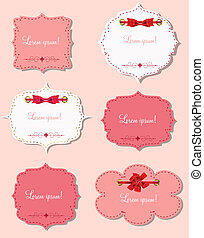 set of different gift cards with  ribbons,  design elements. Vector illustration