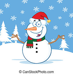 Snowman With Open Arms - Happy Snowman Cartoon Character...