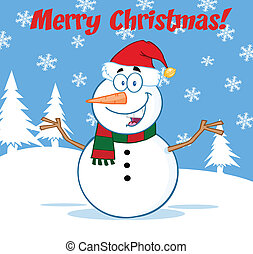 Snowman With Open Arms - Happy Snowman Cartoon Mascot...