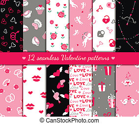 Twelve valentines seamless patterns - Twelve valentines day...