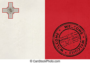 Welcome to Malta flag with passport stamp