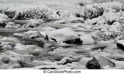 Water Flowing along Latourell Creek in Deep Freeze Winter...