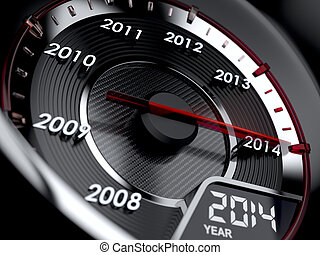 Countdown concept - 3d illustration of 2014 year car...