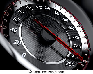 High speed concept - 3d illustration of car speedometer High...
