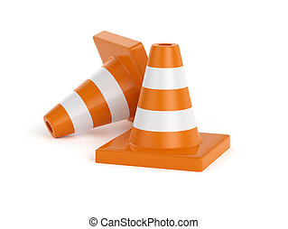 Road cones - 3d illustration of road cones Isolated on white...