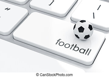 Soccer concept - Soccer ball on the computer keyboard....
