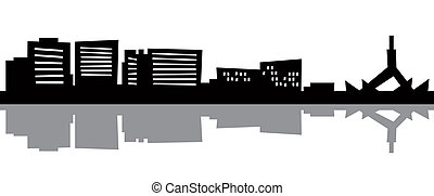 Cartoon Canberra - Cartoon skyline silhouette of the city of...