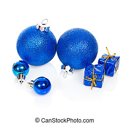 Christmas blue balls and gift boxes - Christmas blue balls...