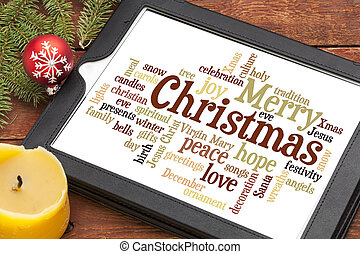 Merry Christmas word cloud - cloud of words or tags related...