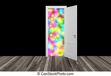 colorfull behind the opening door,3D